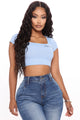 Not Your Baby Square Neck Crop Top - Blue