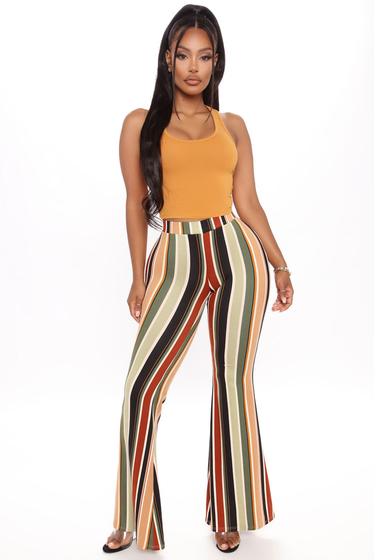Ruched Butt Flare Pant - Olive/combo