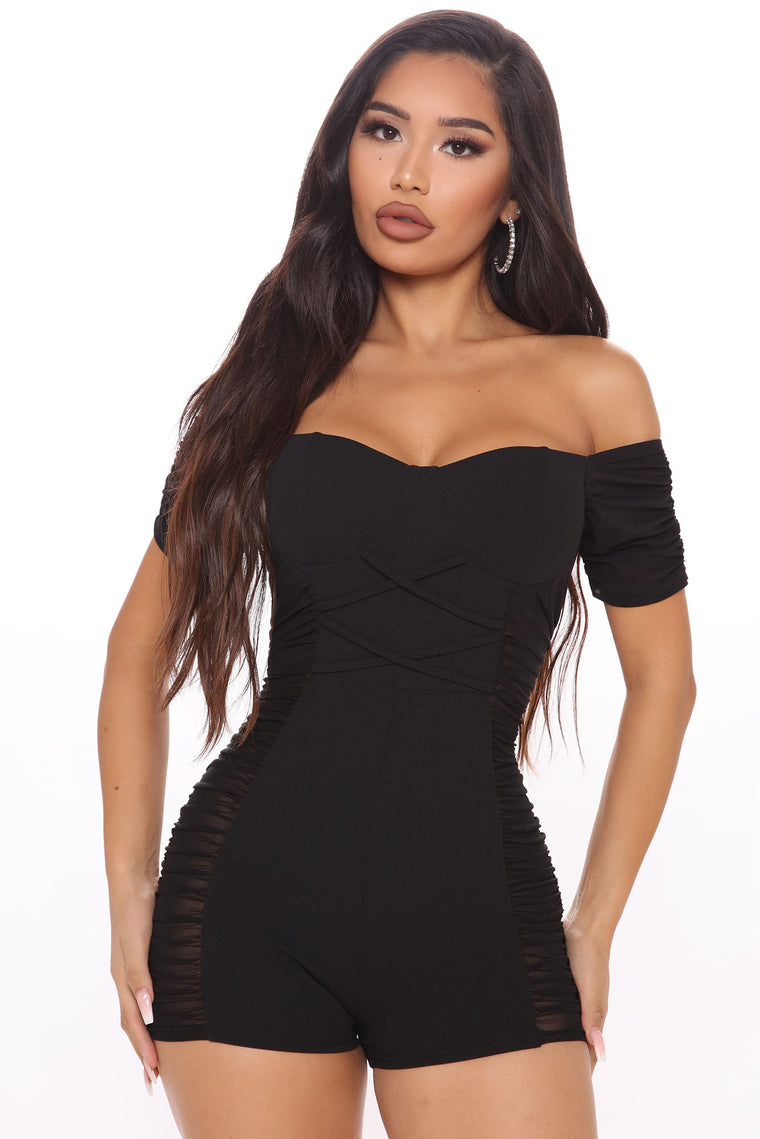 Ready To Ruched Romper - Black