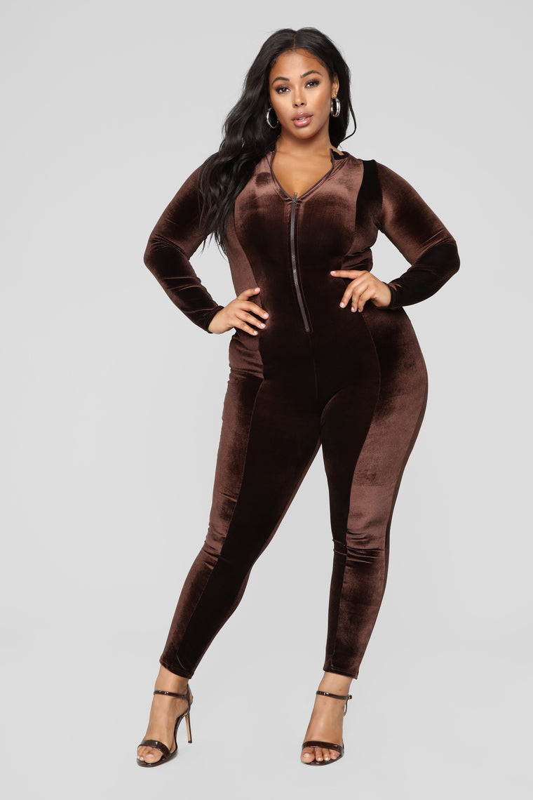 20e0097ae4f Chocolate Dream Velvet Jumpsuit - Brown