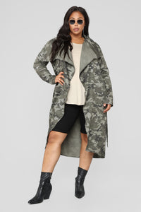 Commander Trench Coat - Olive Angle 5