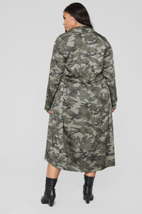 Commander Trench Coat - Olive Angle 9