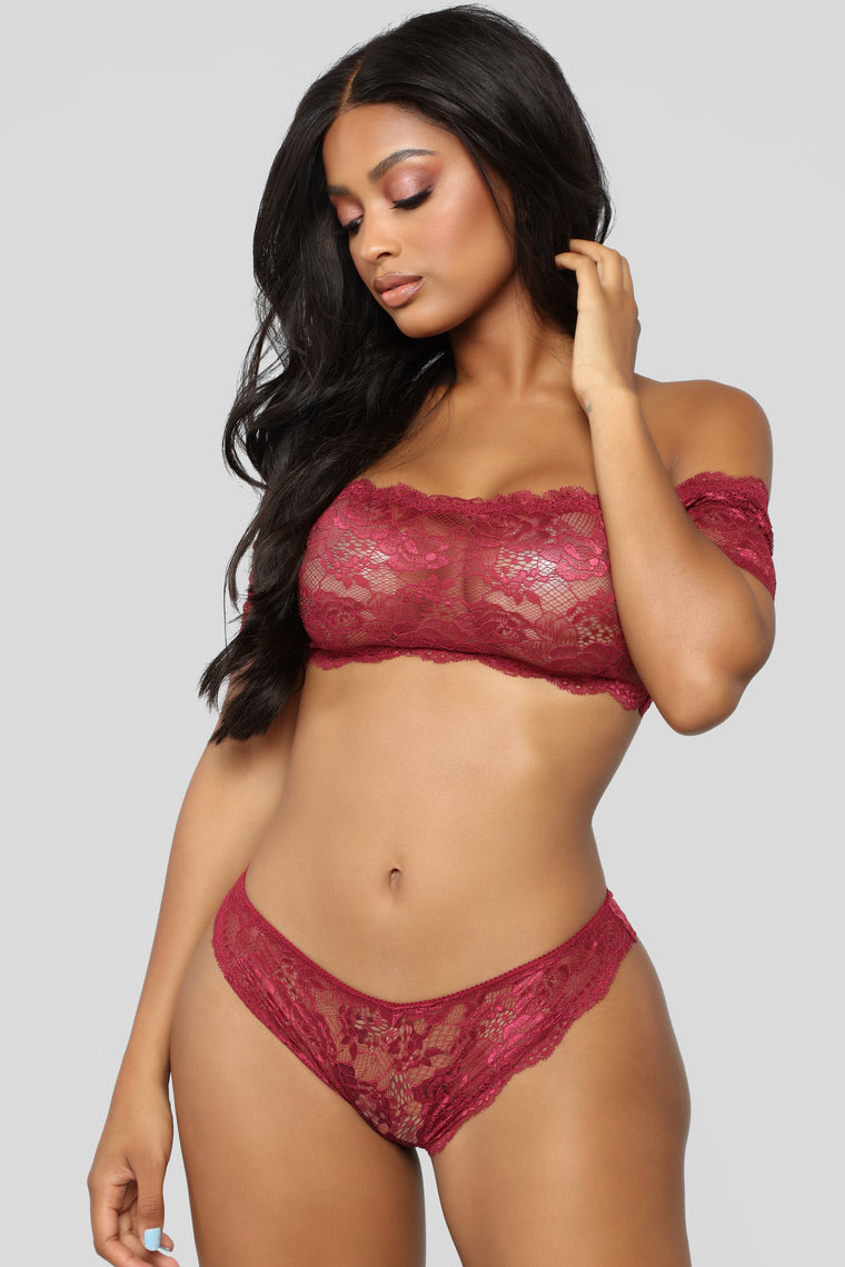Up Front About It 2 Piece Set - Burgundy