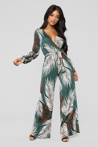 Day Dreamer Tropical Jumpsuit - Green
