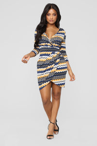 Brittney Surplice Dress - Navy/Mustard