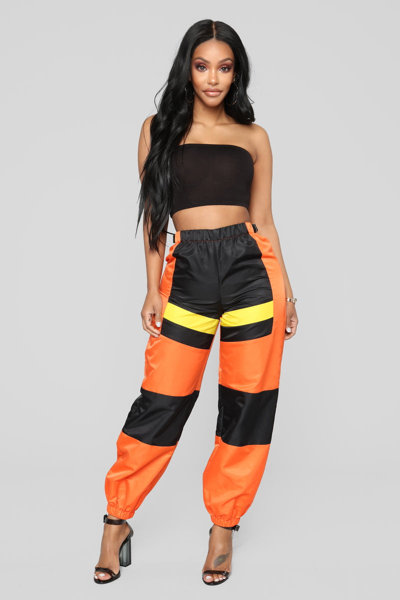 Be Careful With Me Pants - Orange/Black