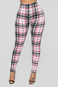 As If Plaid Leggings - Pink