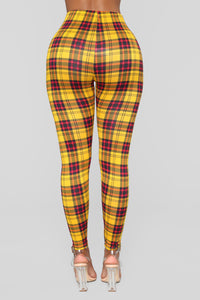 Blair Plaid Leggings - Mustard