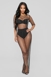 Pearl Dreams Mesh Dress - Black
