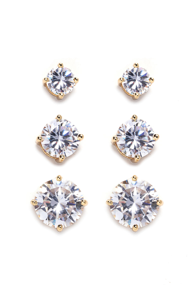 Stud Berry Earring Set - Gold
