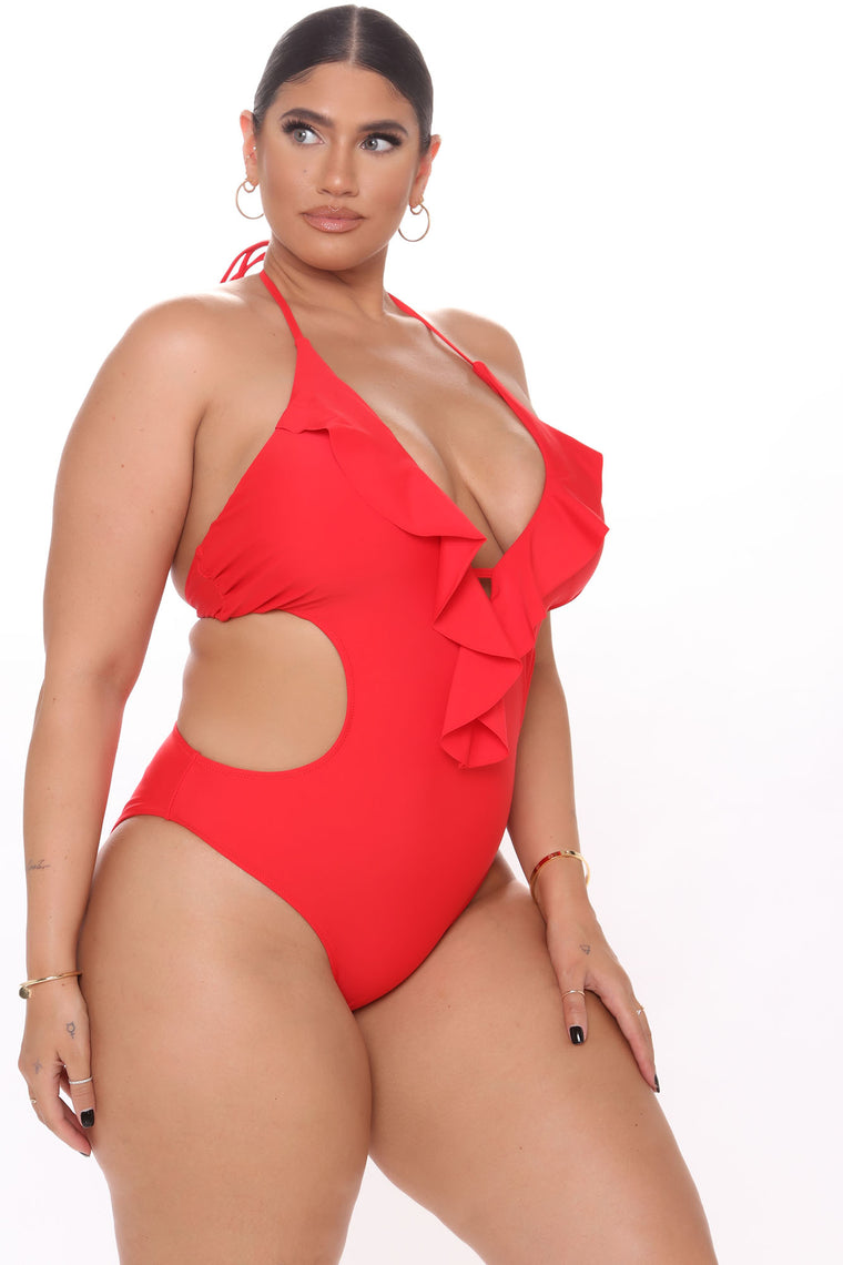 Pier Sunset Ruffle Monokini - Red