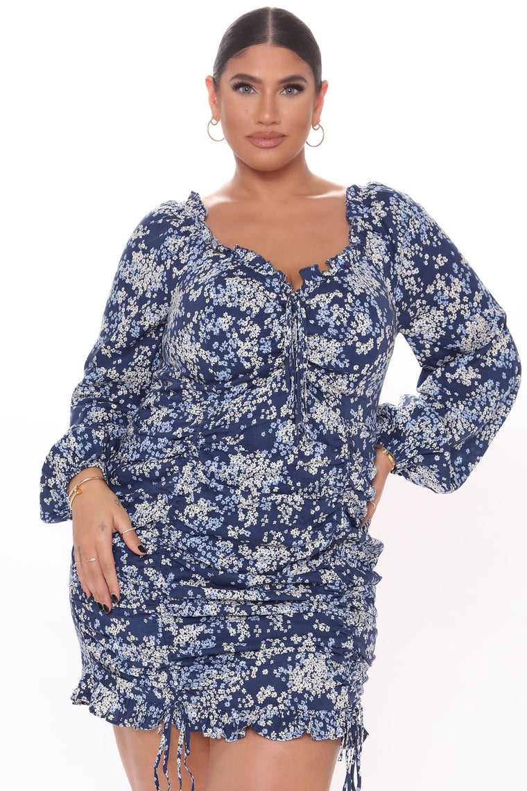 Through The Garden Ruched Mini Dress - Blue/combo