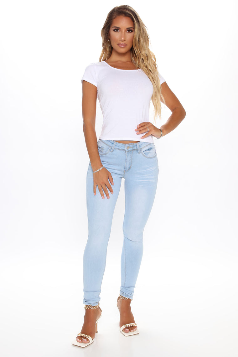 Adore You Mid Rise Skinny Jeans - Light Blue Wash