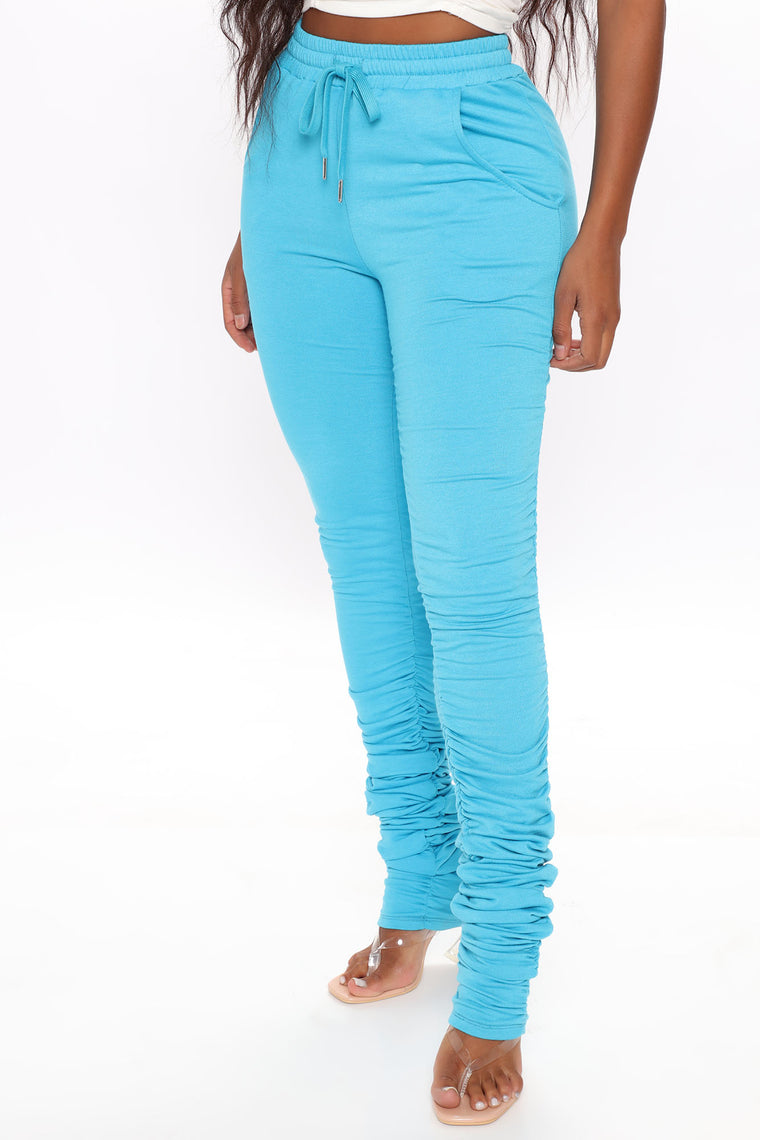 Chase The Bag Stacked Pant - Turquoise