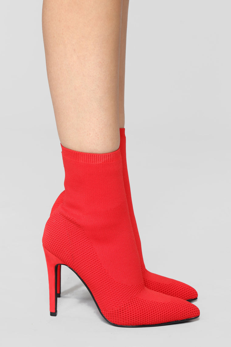 I'm In Knit Heeled Booties - Red