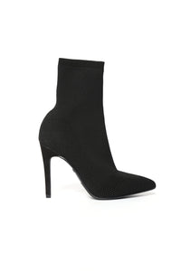 I'm In Knit Heeled Booties - Black