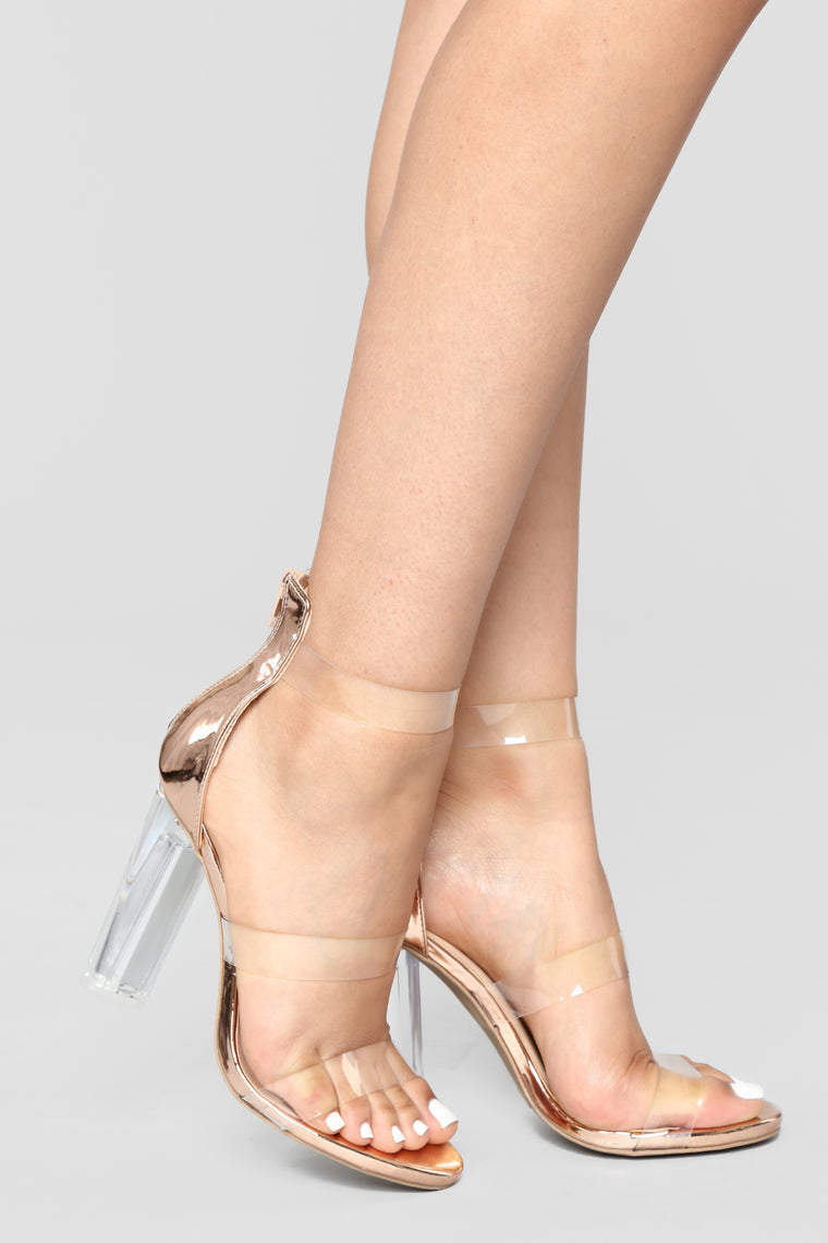 Rosy Clear Heel - Rose Gold, Shoes