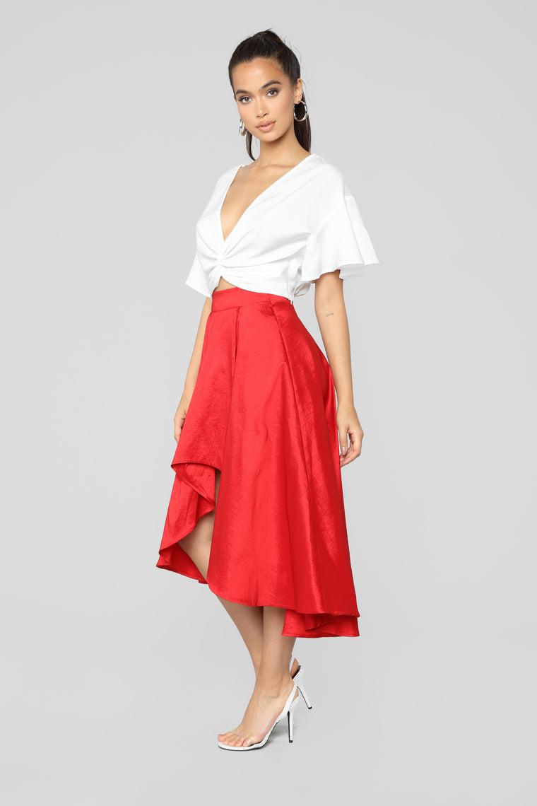 Adriana Hi Low Skirt - Red