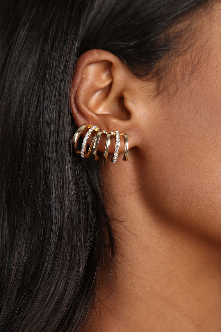 Ahem Cuff Cuff Earring Set - Gold