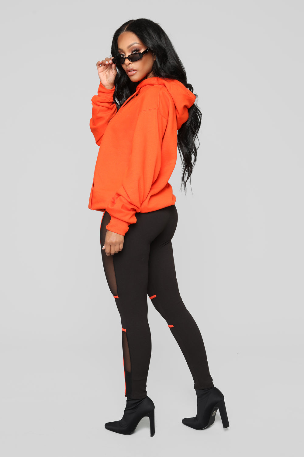 Give Me A Running Start Leggings - Black/Orange