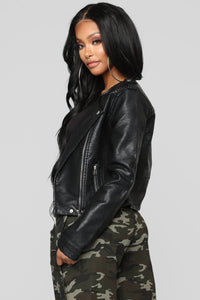 Do What You Want Moto Jacket - Black Angle 3