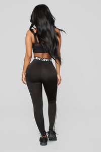 Love On The Run Active Leggings - Black/White