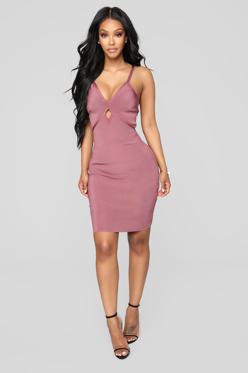 According To Plan Bandage Dress - Rose Brown
