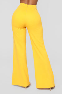 Flare My Button Pants - Mustard