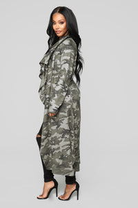 Commander Trench Coat - Olive Angle 3