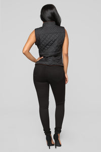 No Love Quilted Vest - Black