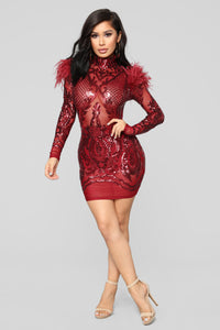 Heartbreak Babe Sequins Dress - Burgundy