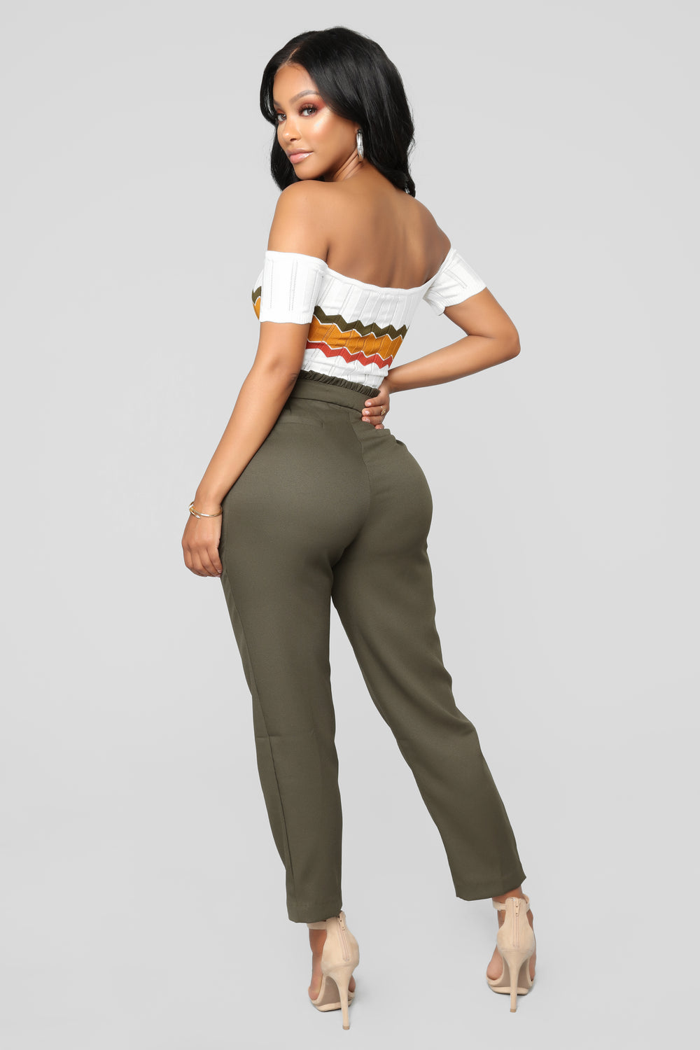Head In The Clouds Ruffle Pants - Olive