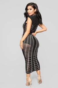Sea Of Shine Midi Dress - Black
