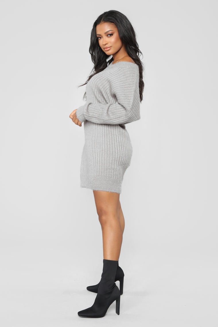 Alice Fuzzy Tunic Sweater - Silver