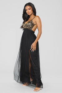 Sent From Heaven Sequin Dress - Black/Gold