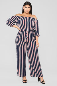 Enjoying Life Stripe Jumpsuit - Navy