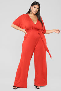 Knot Even Thinking About You Jumpsuit - Rust