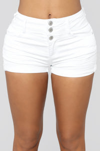 Mandy High Rise Denim Shorts - White