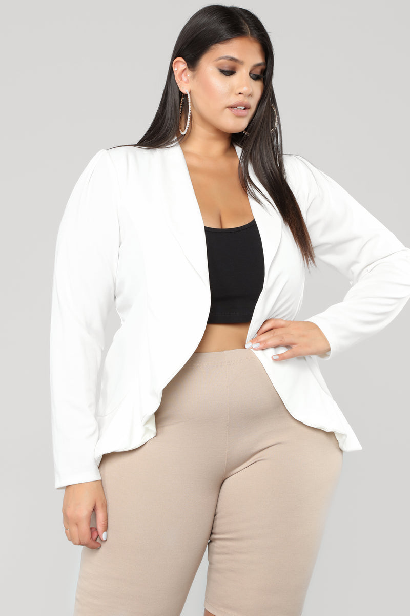 49a1c7759a5 None Of Yo Business Draped Blazer - Ivory