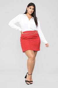 She's A Lady Chain Skirt - Red Angle 7