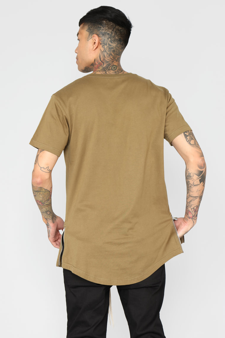 Side Zip Short Sleeve Tee - Olive