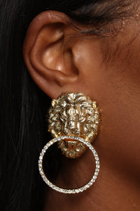 Lion On The Bed Earrings - Gold