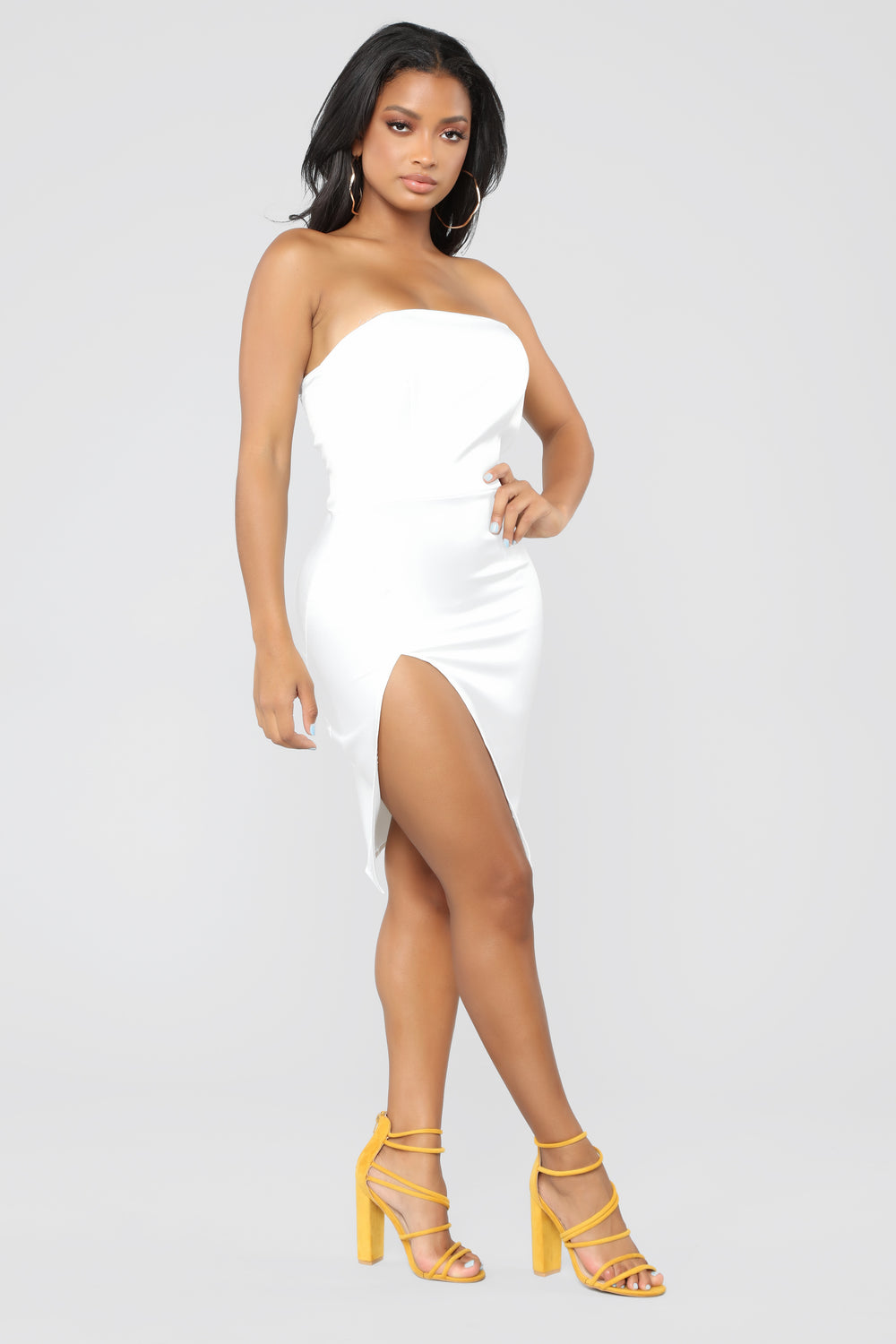 Perfect Pose Satin Dress - White