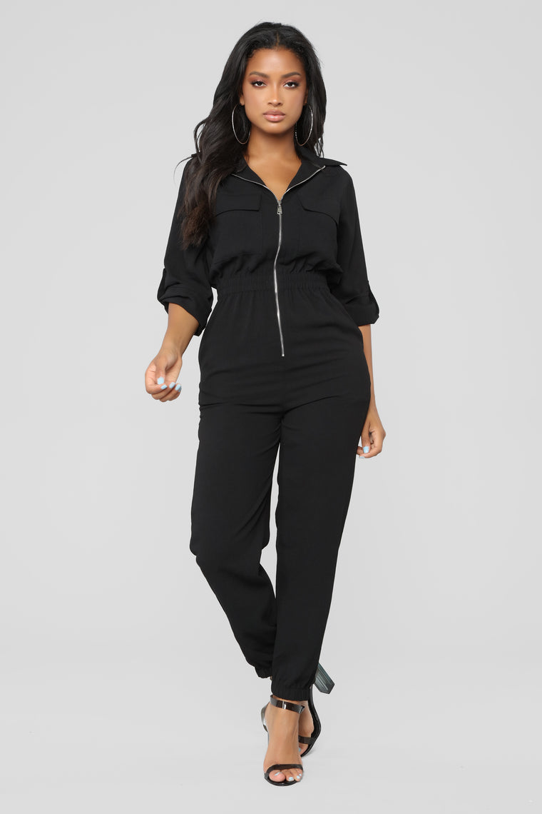 Back To You Love Jumpsuit - Black