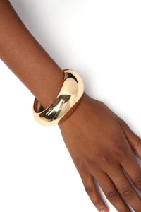 Cuffing Up A Storm Bracelet - Gold