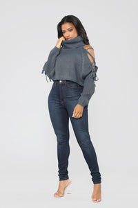 Julie Lace Up Turtle Neck Sweater - Blue