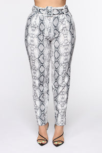 Monica Snakeskin Belted Pants - Grey Snake