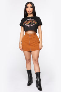 Business In The Front Skort - Camel Angle 1