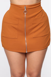 Business In The Front Skort - Camel Angle 2