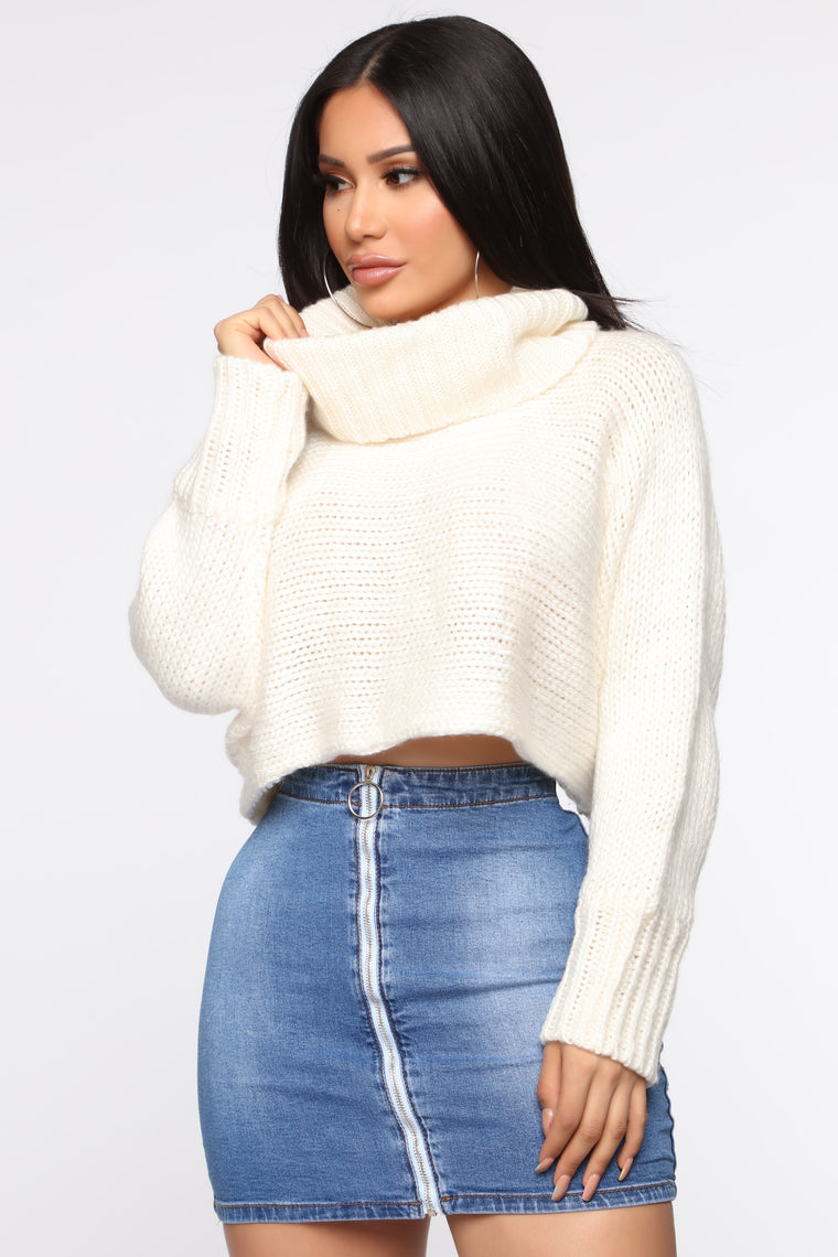 Amara Cropped Sweater   Off White by Fashion Nova